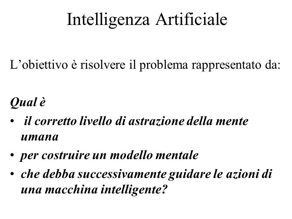Intelligenza Artificiale L'obiettivo è risolvere il problema rappresentato da: Qual è il corretto livello di astrazione della mente umana per costruire un modello mentale che debba successivamente guidare le azioni di una macchina intelligente