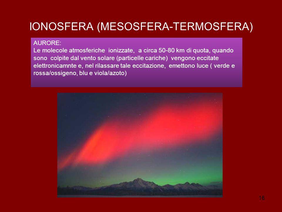 16 IONOSFERA (MESOSFERA-TERMOSFERA) AURORE: Le molecole atmosferiche ionizzate, a circa 50-80 km di quota, quando sono colpite dal vento solare (particelle cariche) vengono eccitate elettronicamnte e, nel rilassare tale eccitazione, emettono luce ( verde e rossa/ossigeno, blu e viola/azoto)
