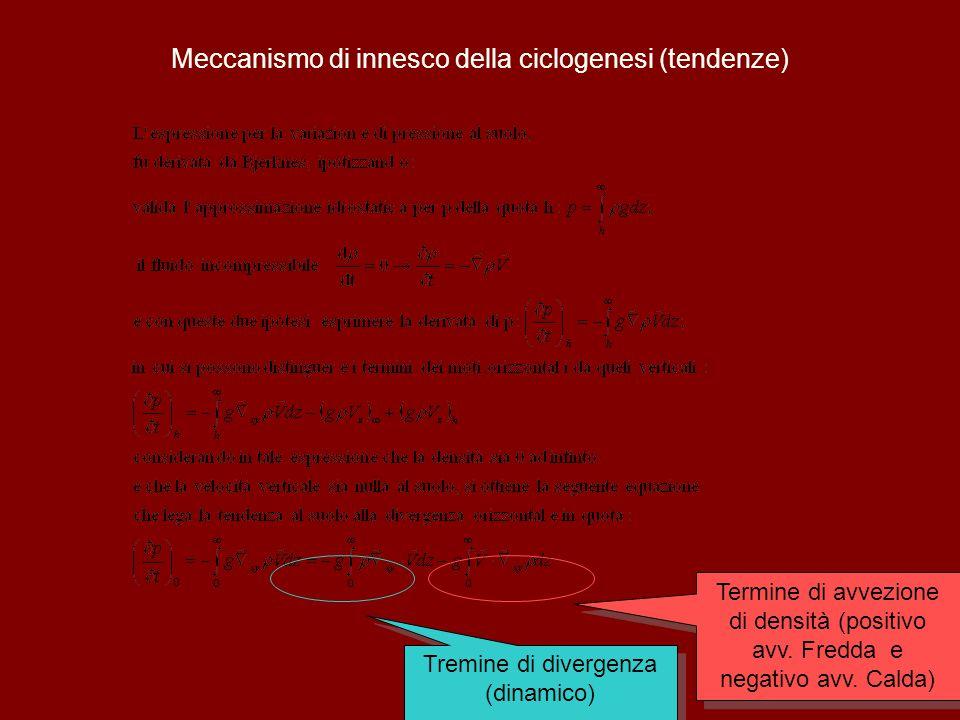 44 Meccanismo di innesco della ciclogenesi (tendenze) Tremine di divergenza (dinamico) Termine di avvezione di densità (positivo avv.