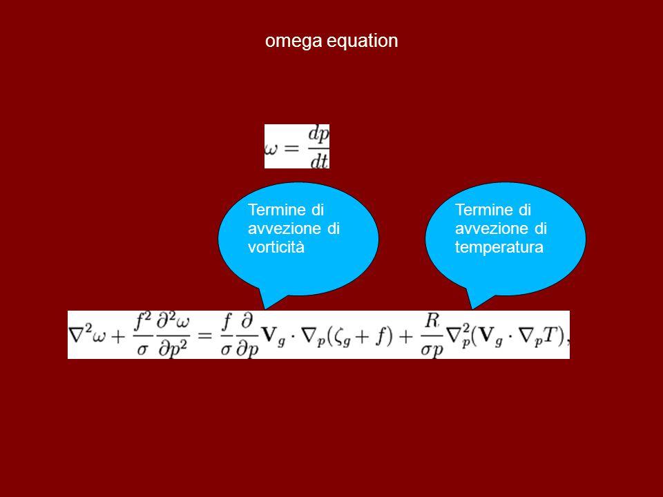 omega equation Termine di avvezione di vorticità Termine di avvezione di temperatura