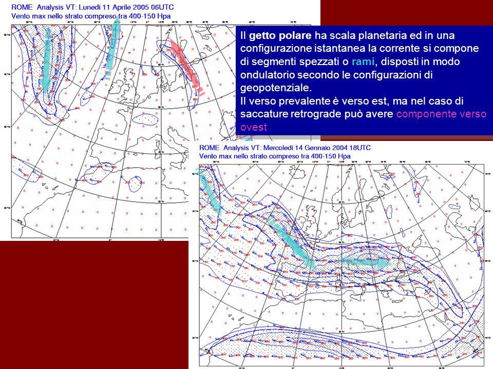 60 Corrente a getto polare Il getto polare ha scala planetaria ed in una configurazione istantanea la corrente si compone di segmenti spezzati o rami, disposti in modo ondulatorio secondo le configurazioni di geopotenziale.