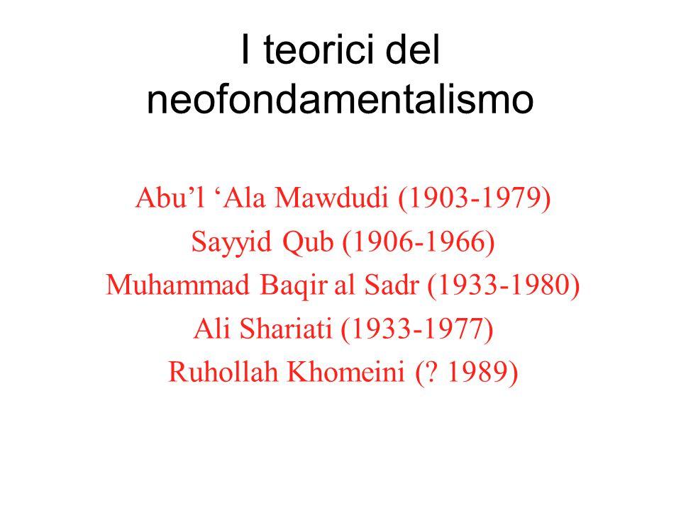 I teorici del neofondamentalismo Abu'l 'Ala Mawdudi (1903-1979) Sayyid Qub (1906-1966) Muhammad Baqir al Sadr (1933-1980) Ali Shariati (1933-1977) Ruh