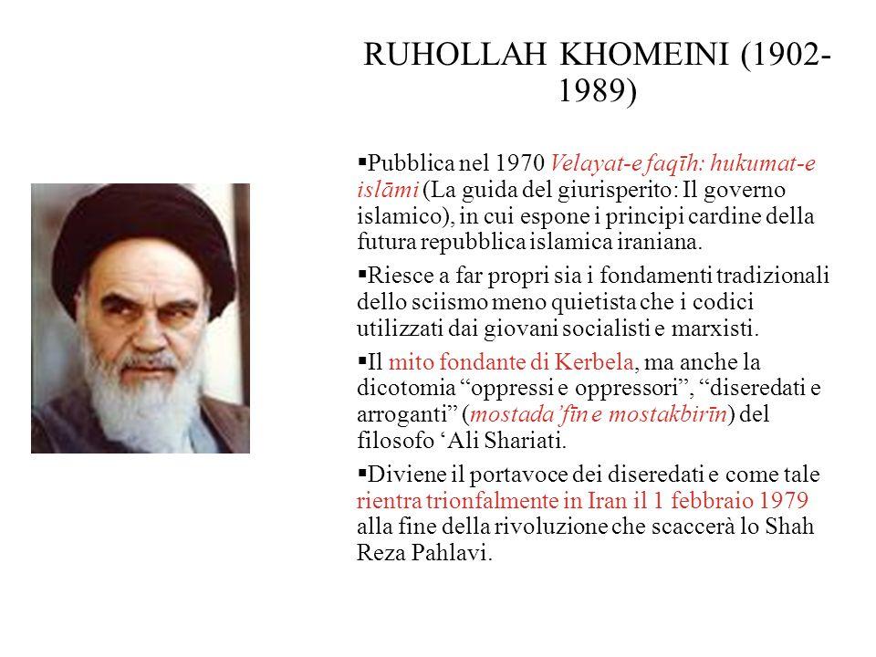 RUHOLLAH KHOMEINI (1902- 1989)  Pubblica nel 1970 Velayat-e faqīh: hukumat-e islāmi (La guida del giurisperito: Il governo islamico), in cui espone i