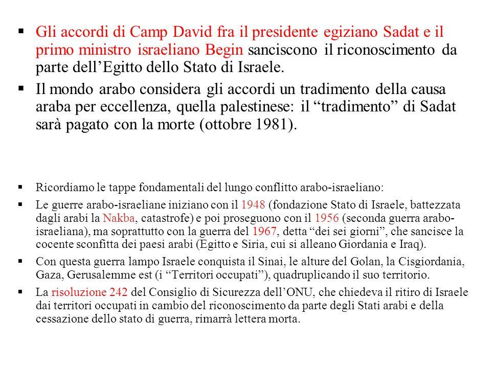  Gli accordi di Camp David fra il presidente egiziano Sadat e il primo ministro israeliano Begin sanciscono il riconoscimento da parte dell'Egitto de