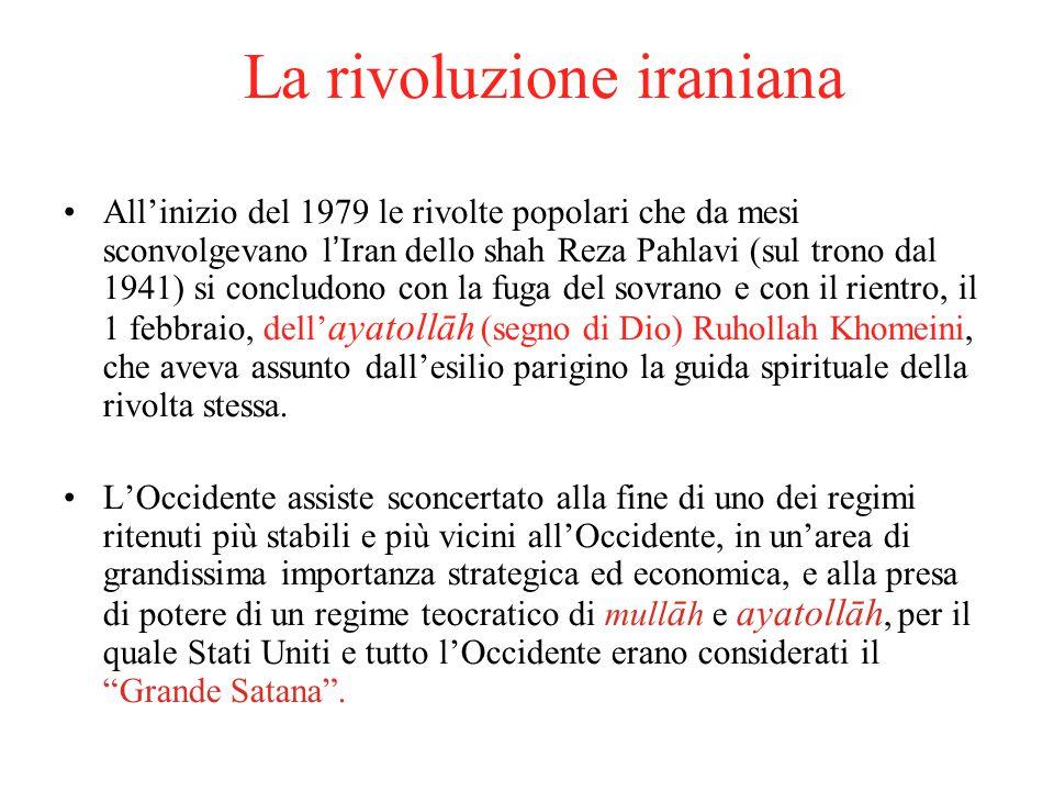 La rivoluzione iraniana All'inizio del 1979 le rivolte popolari che da mesi sconvolgevano l'Iran dello shah Reza Pahlavi (sul trono dal 1941) si concl