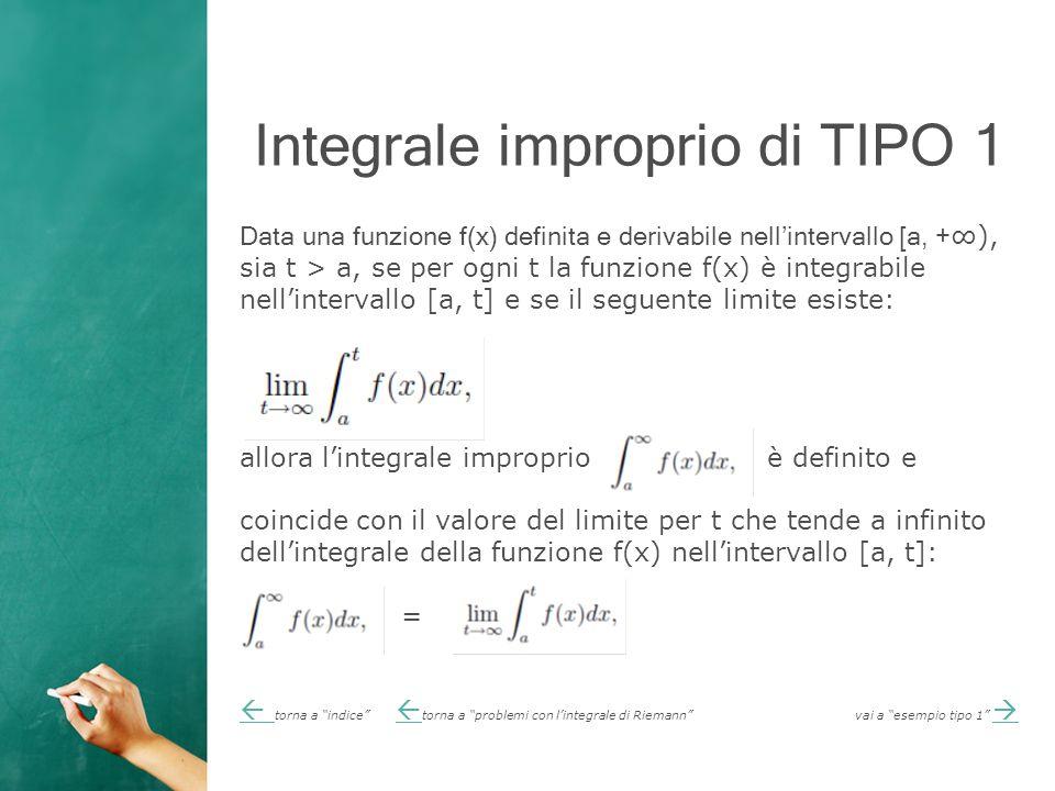 Integrale improprio di TIPO 1 Data una funzione f(x) definita e derivabile nell'intervallo [a, + ∞), sia t > a, se per ogni t la funzione f(x) è integrabile nell'intervallo [a, t] e se il seguente limite esiste: allora l'integrale improprio è definito e coincide con il valore del limite per t che tende a infinito dell'integrale della funzione f(x) nell'intervallo [a, t]: =   torna a indice  torna a problemi con l'integrale di Riemann vai a esempio tipo 1   