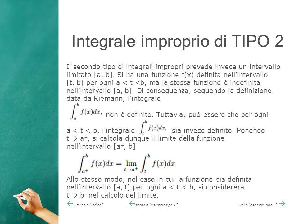 Integrale improprio di TIPO 2 Il secondo tipo di integrali impropri prevede invece un intervallo limitato [a, b].