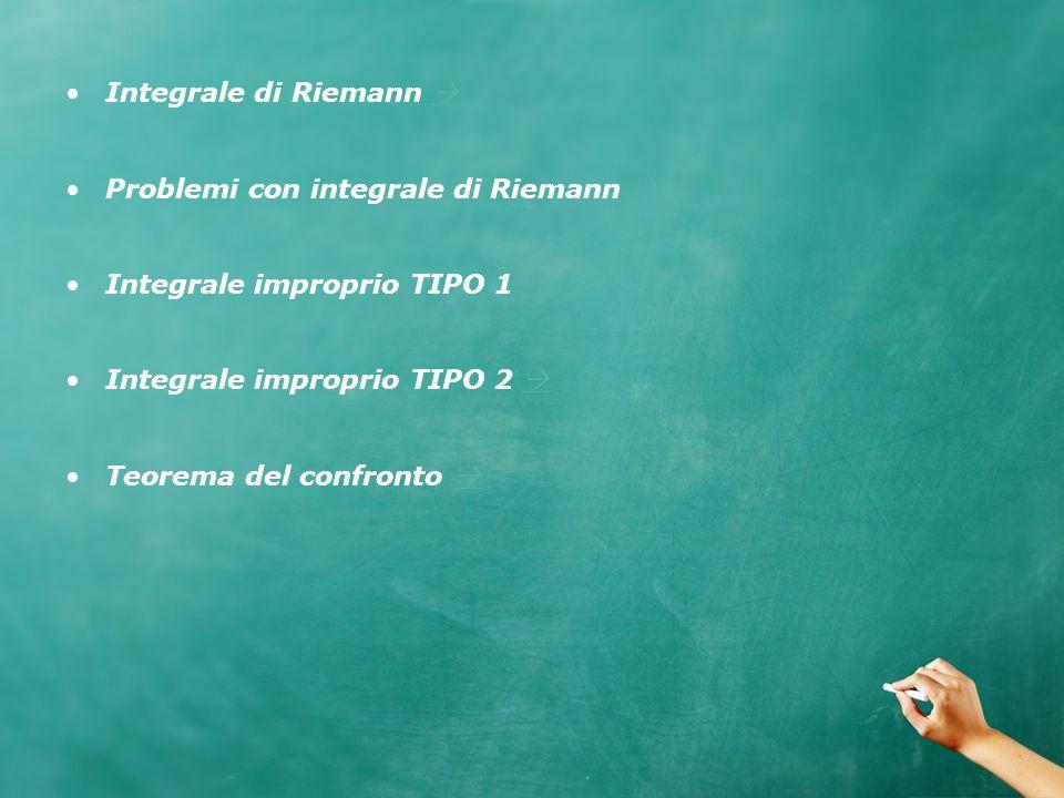 Integrale di Riemann   Problemi con integrale di Riemann   Integrale improprio TIPO 1   Integrale improprio TIPO 2   Teorema del confronto  