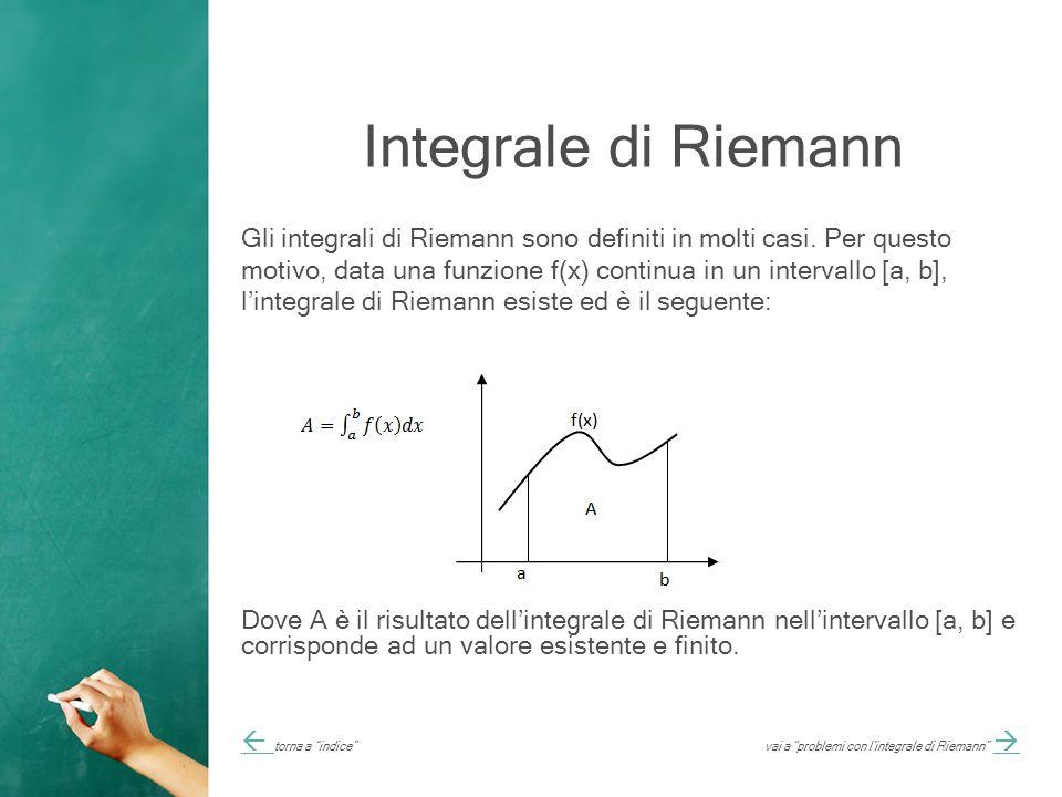 Integrale di Riemann Gli integrali di Riemann sono definiti in molti casi.