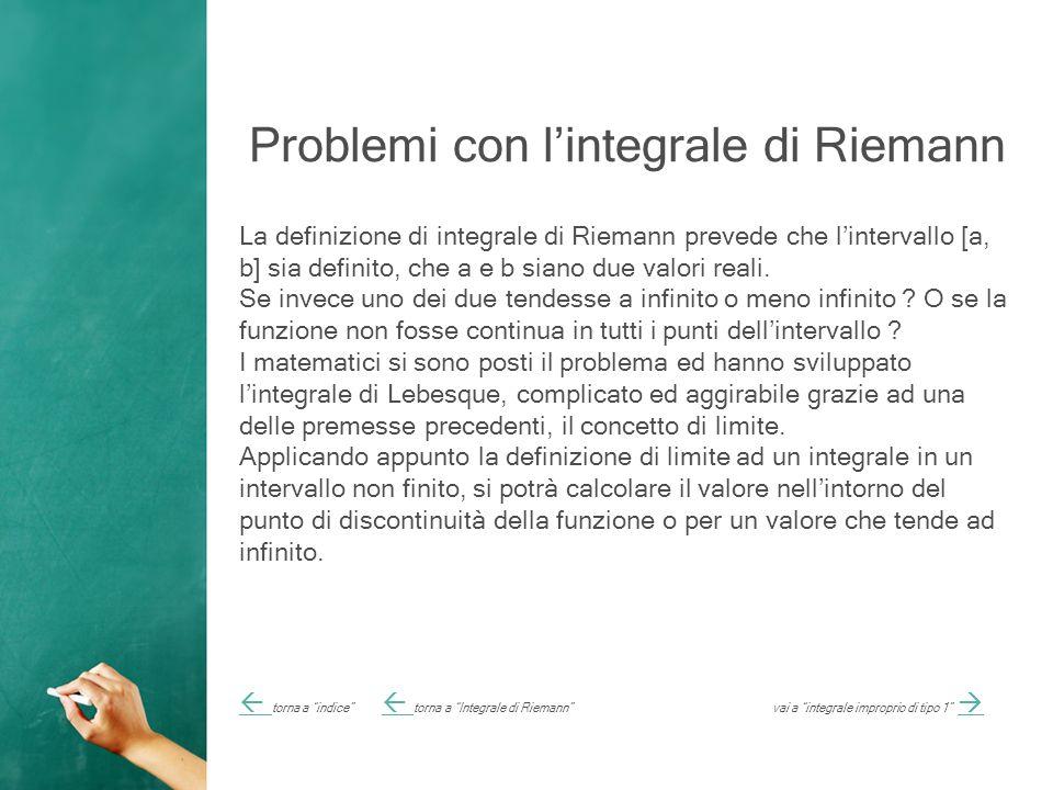 Problemi con l'integrale di Riemann La definizione di integrale di Riemann prevede che l'intervallo [a, b] sia definito, che a e b siano due valori reali.
