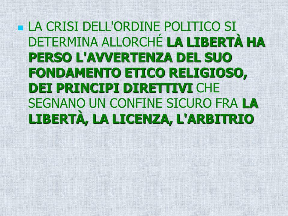 LA LIBERTÀ HA PERSO L'AVVERTENZA DEL SUO FONDAMENTO ETICO RELIGIOSO, DEI PRINCIPI DIRETTIVI LA LIBERTÀ, LA LICENZA, L'ARBITRIO LA CRISI DELL'ORDINE PO