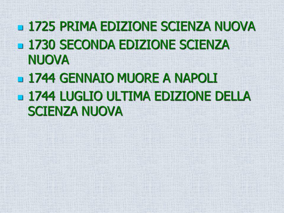 1725 PRIMA EDIZIONE SCIENZA NUOVA 1725 PRIMA EDIZIONE SCIENZA NUOVA 1730 SECONDA EDIZIONE SCIENZA NUOVA 1730 SECONDA EDIZIONE SCIENZA NUOVA 1744 GENNA