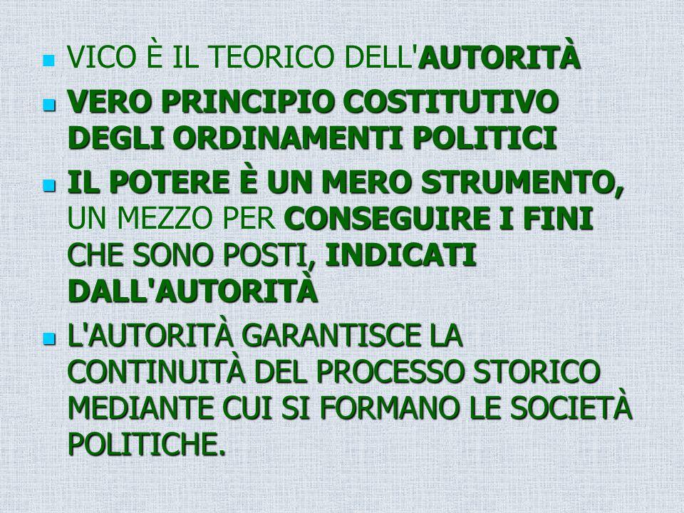 AUTORITÀ VICO È IL TEORICO DELL'AUTORITÀ VERO PRINCIPIO COSTITUTIVO DEGLI ORDINAMENTI POLITICI VERO PRINCIPIO COSTITUTIVO DEGLI ORDINAMENTI POLITICI I