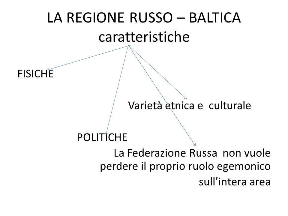 LA REGIONE RUSSO – BALTICA caratteristiche FISICHE Varietà etnica e culturale POLITICHE La Federazione Russa non vuole perdere il proprio ruolo egemonico sull'intera area