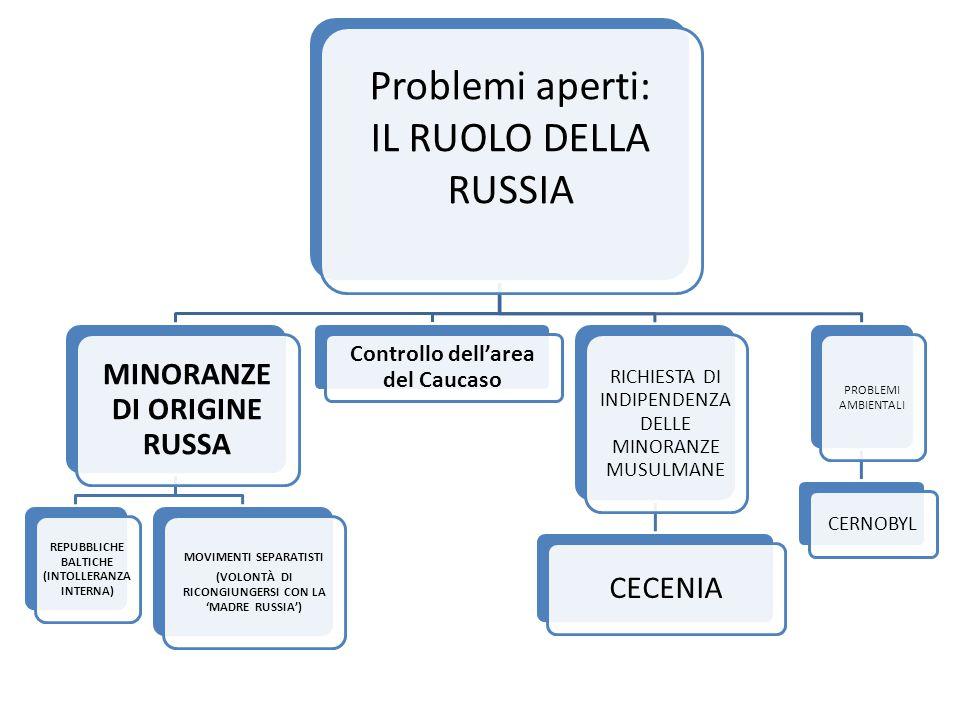 Problemi aperti: IL RUOLO DELLA RUSSIA MINORANZE DI ORIGINE RUSSA REPUBBLICHE BALTICHE (INTOLLERANZA INTERNA) MOVIMENTI SEPARATISTI (VOLONTÀ DI RICONGIUNGERSI CON LA 'MADRE RUSSIA') Controllo dell'area del Caucaso RICHIESTA DI INDIPENDENZA DELLE MINORANZE MUSULMANE CECENIA PROBLEMI AMBIENTALI CERNOBYL