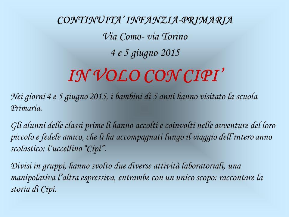 CONTINUITA' INFANZIA-PRIMARIA Via Como- via Torino 4 e 5 giugno 2015 IN VOLO CON CIPI' Nei giorni 4 e 5 giugno 2015, i bambini di 5 anni hanno visitat