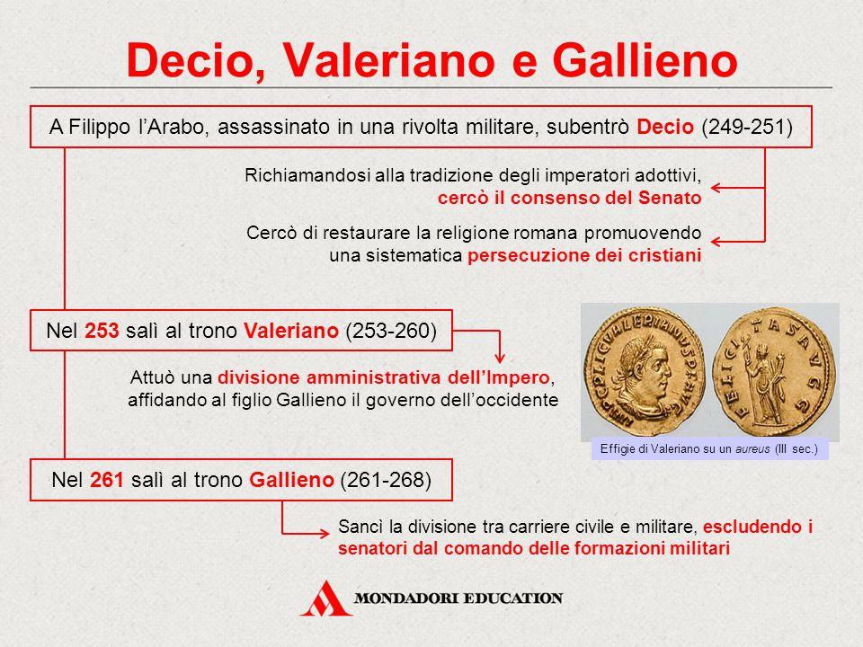 Decio, Valeriano e Gallieno Nel 261 salì al trono Gallieno (261-268) A Filippo l'Arabo, assassinato in una rivolta militare, subentrò Decio (249-251)