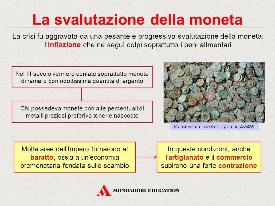 La svalutazione della moneta La crisi fu aggravata da una pesante e progressiva svalutazione della moneta: l'inflazione che ne seguì colpì soprattutto