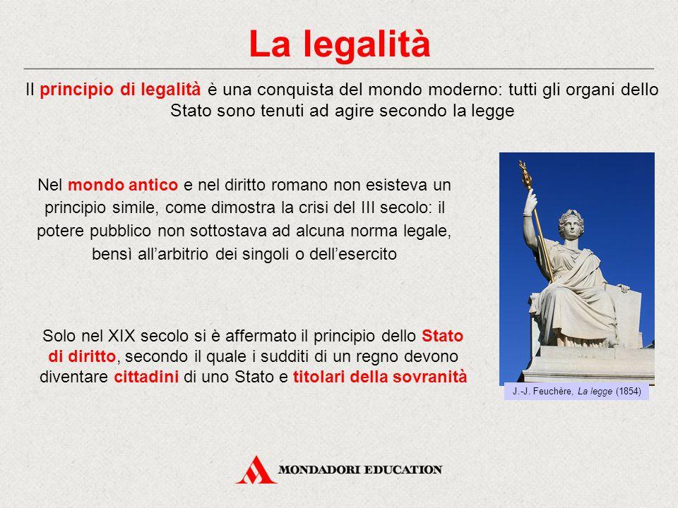 La legalità Il principio di legalità è una conquista del mondo moderno: tutti gli organi dello Stato sono tenuti ad agire secondo la legge Solo nel XI
