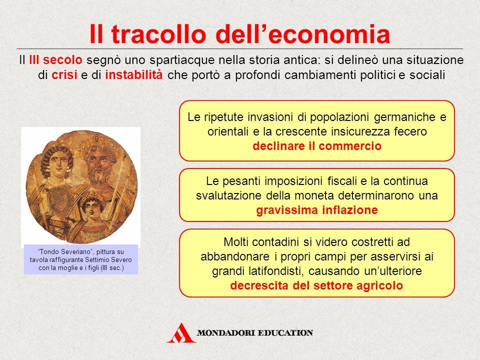 Il tracollo dell'economia Il III secolo segnò uno spartiacque nella storia antica: si delineò una situazione di crisi e di instabilità che portò a pro