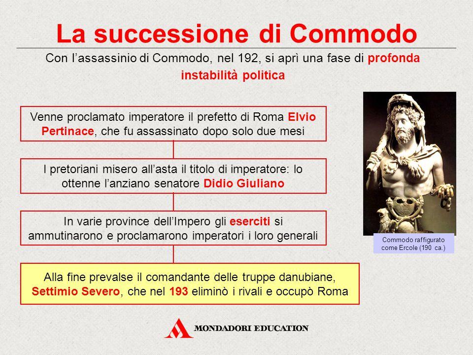 La successione di Commodo Con l'assassinio di Commodo, nel 192, si aprì una fase di profonda instabilità politica I pretoriani misero all'asta il tito