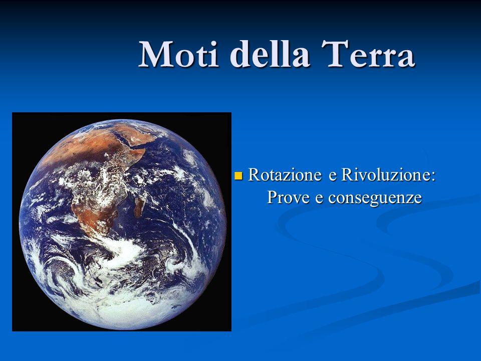 Moti della Terra Rotazione e Rivoluzione: Rotazione e Rivoluzione: Prove e conseguenze