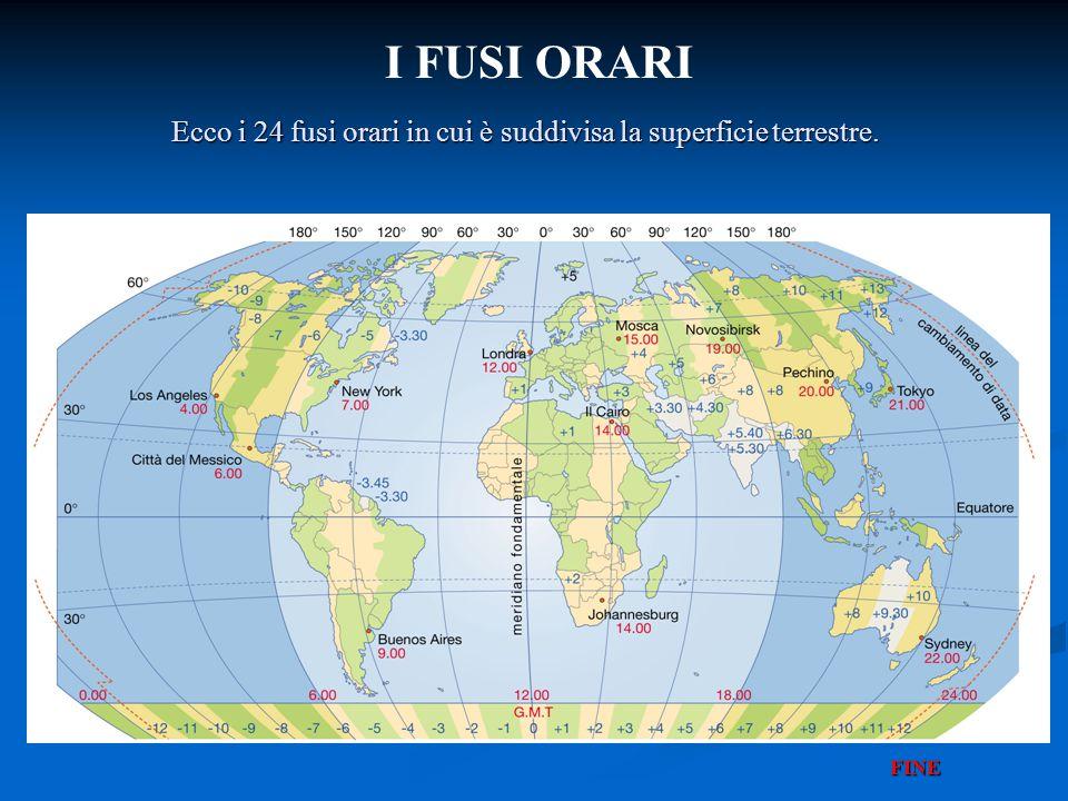 I FUSI ORARI Ecco i 24 fusi orari in cui è suddivisa la superficie terrestre. FINE
