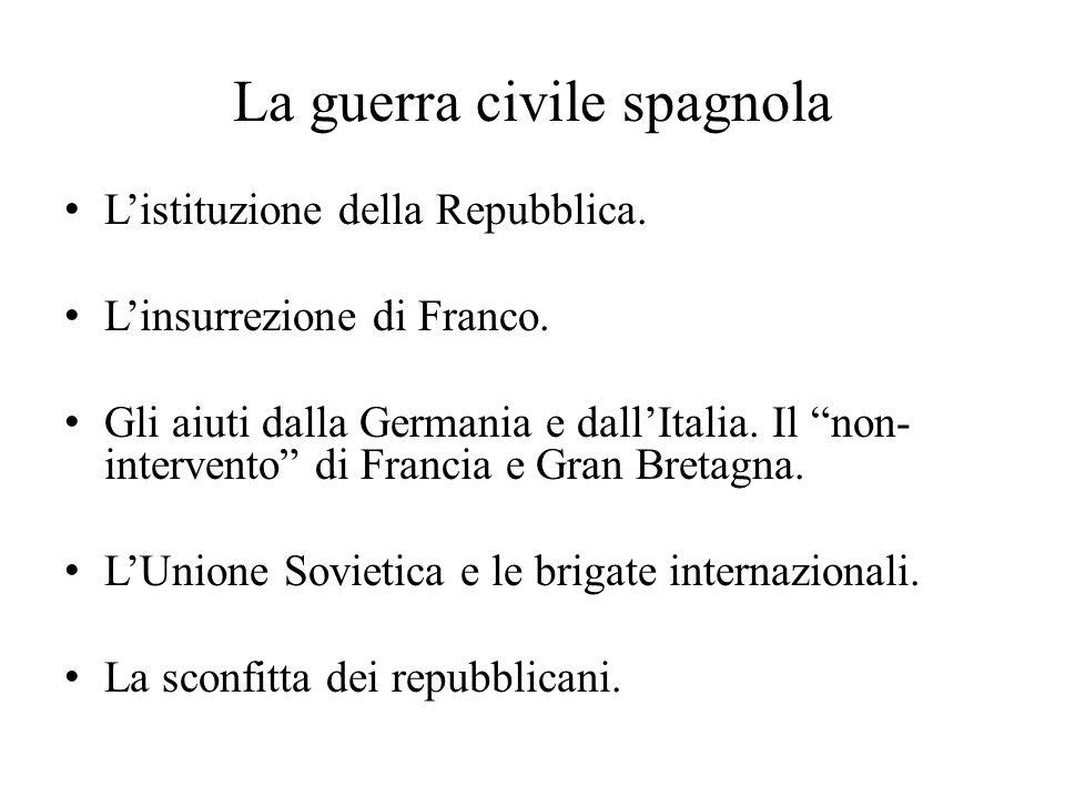 """La guerra civile spagnola L'istituzione della Repubblica. L'insurrezione di Franco. Gli aiuti dalla Germania e dall'Italia. Il """"non- intervento"""" di Fr"""