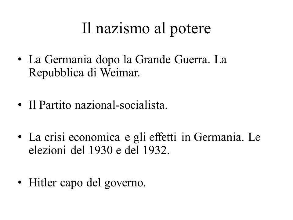Il nazismo al potere La Germania dopo la Grande Guerra. La Repubblica di Weimar. Il Partito nazional-socialista. La crisi economica e gli effetti in G
