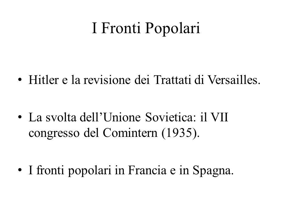 I Fronti Popolari Hitler e la revisione dei Trattati di Versailles. La svolta dell'Unione Sovietica: il VII congresso del Comintern (1935). I fronti p