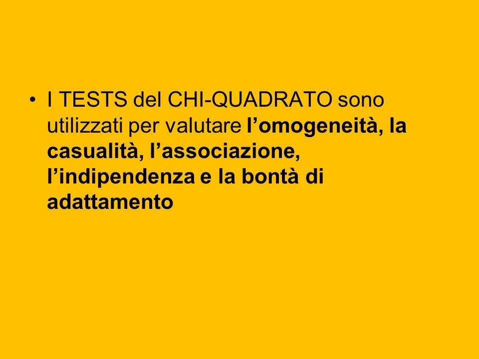 I TESTS del CHI-QUADRATO sono utilizzati per valutare l'omogeneità, la casualità, l'associazione, l'indipendenza e la bontà di adattamento