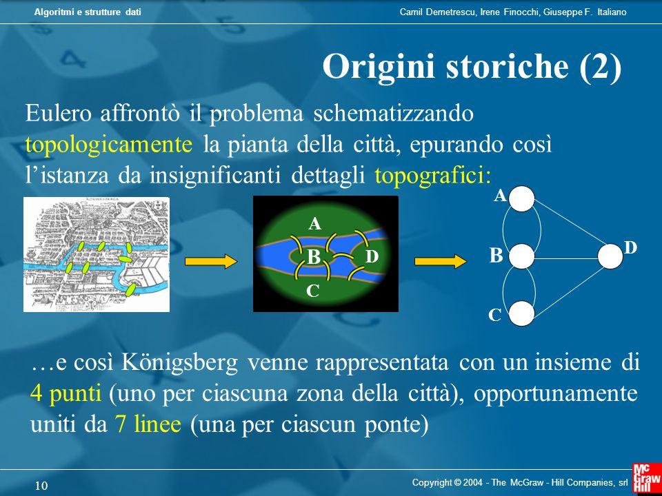 Camil Demetrescu, Irene Finocchi, Giuseppe F. ItalianoAlgoritmi e strutture dati Copyright © 2004 - The McGraw - Hill Companies, srl 10 Origini storic