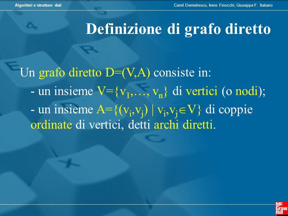 Camil Demetrescu, Irene Finocchi, Giuseppe F. ItalianoAlgoritmi e strutture dati Definizione di grafo diretto Un grafo diretto D=(V,A) consiste in: -