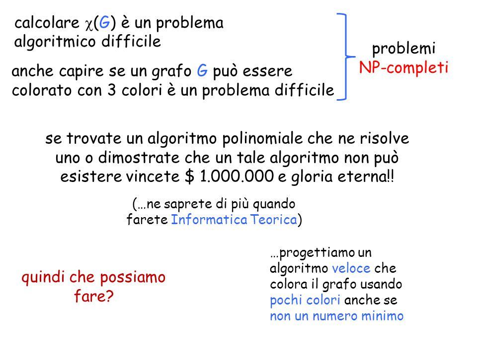 calcolare  (G) è un problema algoritmico difficile se trovate un algoritmo polinomiale che ne risolve uno o dimostrate che un tale algoritmo non può