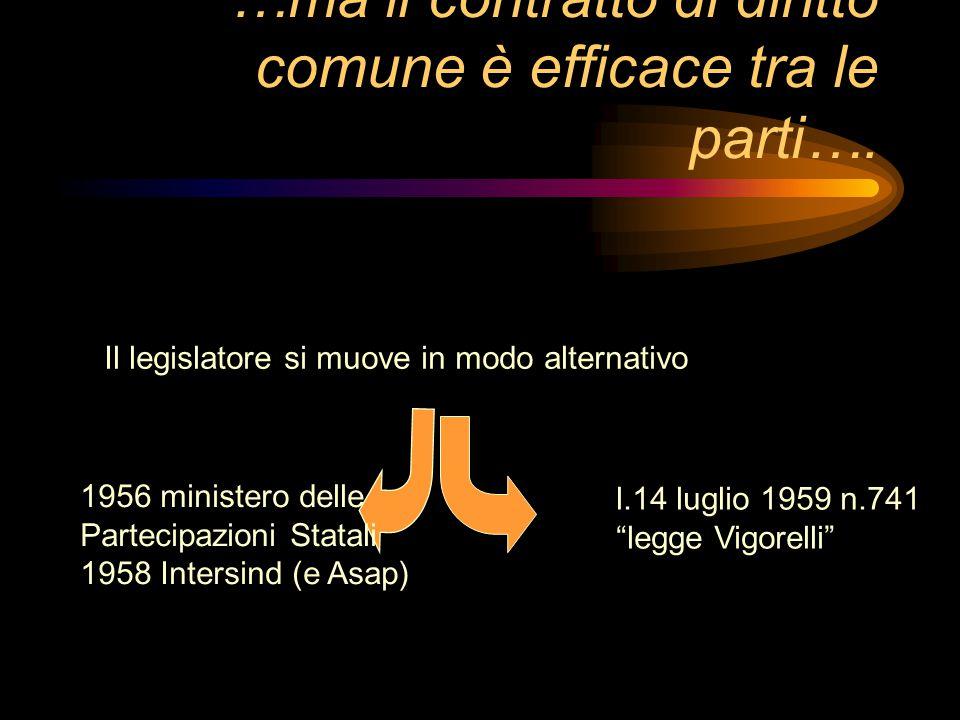 …ma il contratto di diritto comune è efficace tra le parti….