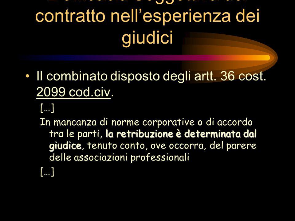 L'efficacia Soggettiva del contratto nell'esperienza dei giudici Il combinato disposto degli artt.