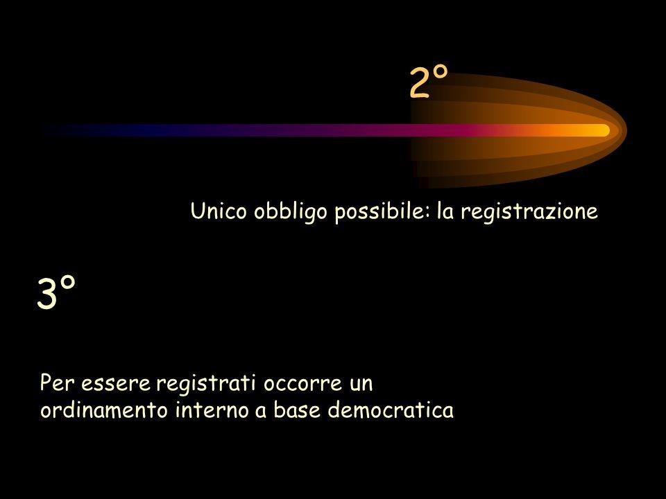 2° Unico obbligo possibile: la registrazione 3° Per essere registrati occorre un ordinamento interno a base democratica
