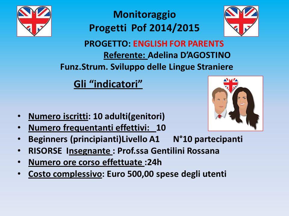 """Monitoraggio Progetti Pof 2014/2015 PROGETTO: ENGLISH FOR PARENTS Referente: Adelina D'AGOSTINO Funz.Strum. Sviluppo delle Lingue Straniere Gli """"indic"""
