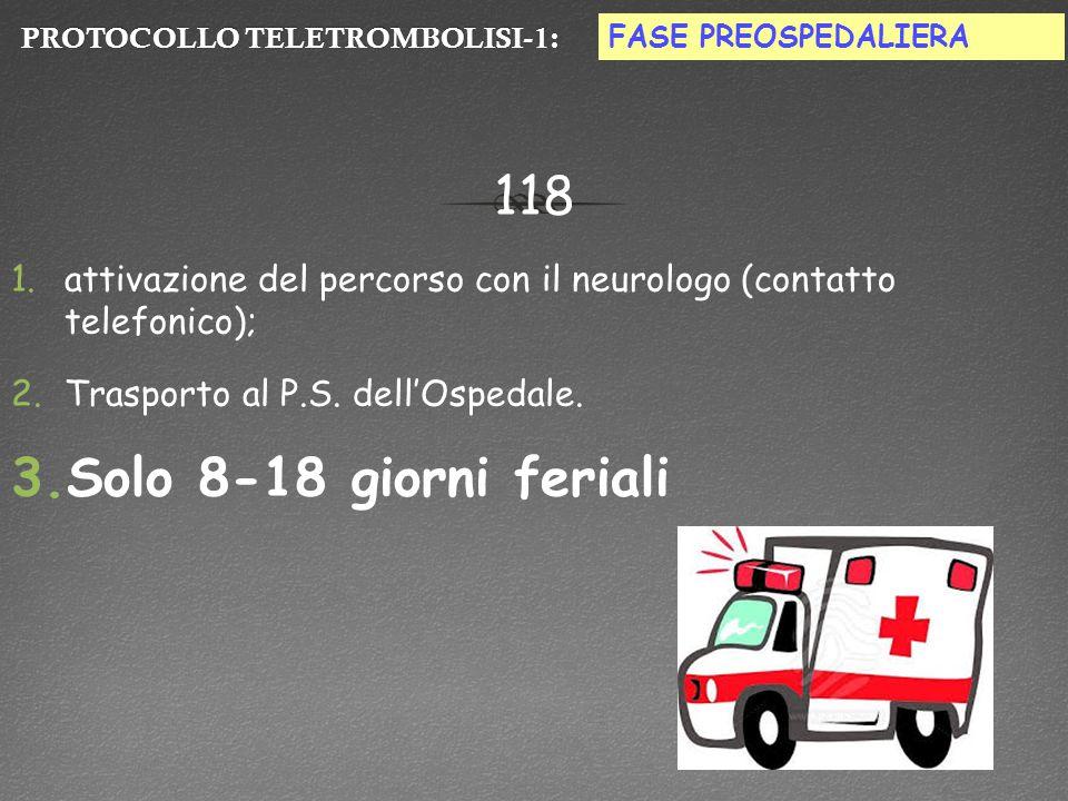 PROTOCOLLO TELETROMBOLISI-1:PROTOCOLLO TELETROMBOLISI-1: 118 1.attivazione del percorso con il neurologo (contatto telefonico); 2.Trasporto al P.S.