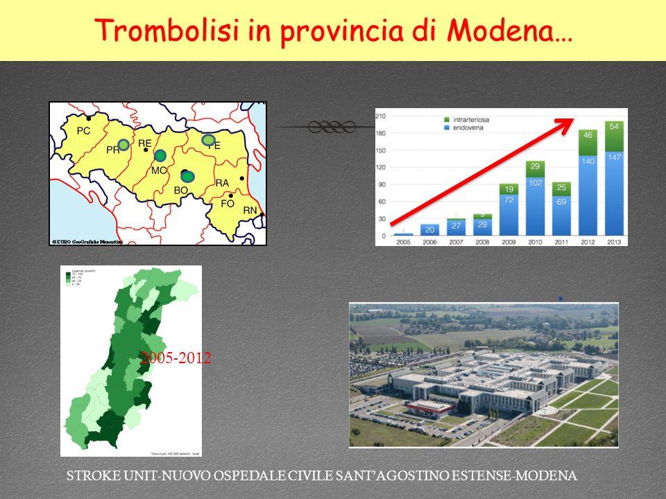 Trombolisi in provincia di Modena…Trombolisi in provincia di Modena… 2005-2012 STROKE UNIT-NUOVO OSPEDALE CIVILE SANT'AGOSTINO ESTENSE-MODENA
