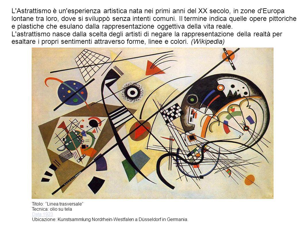 L Astrattismo è un esperienza artistica nata nei primi anni del XX secolo, in zone d Europa lontane tra loro, dove si sviluppò senza intenti comuni.