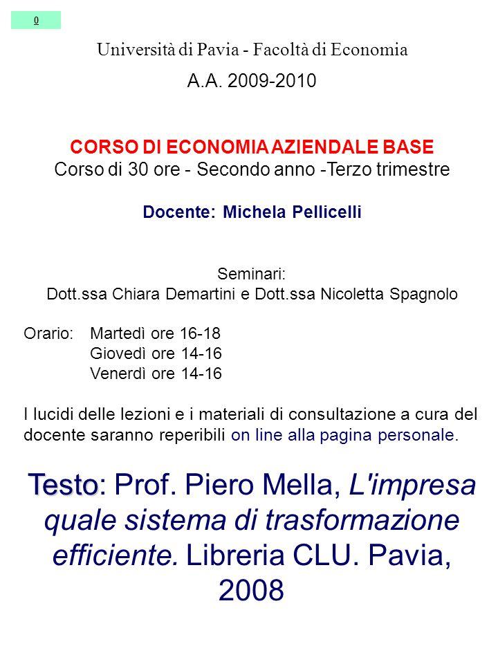 0 Università di Pavia - Facoltà di Economia A.A.