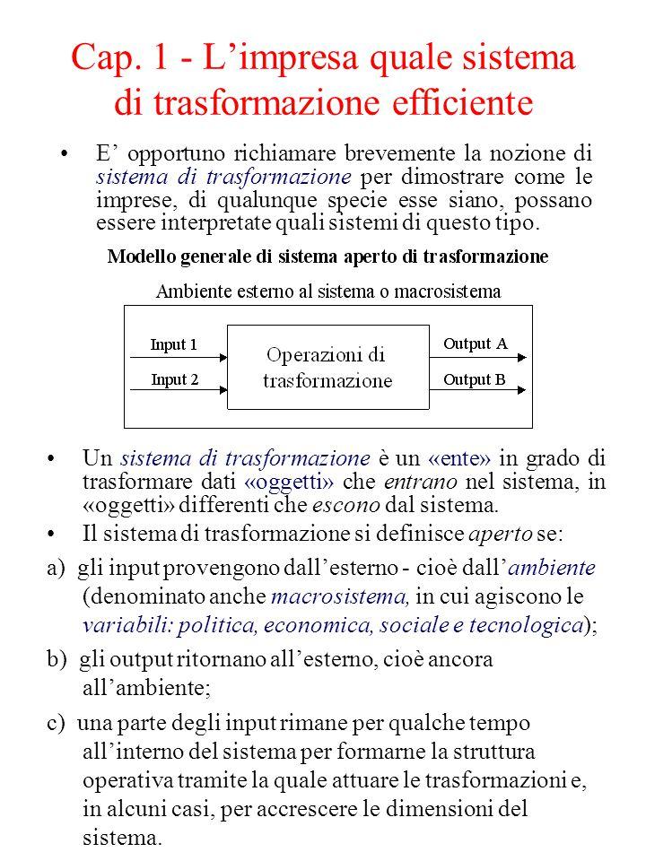 Cap. 1 - L'impresa quale sistema di trasformazione efficiente E' opportuno richiamare brevemente la nozione di sistema di trasformazione per dimostrar