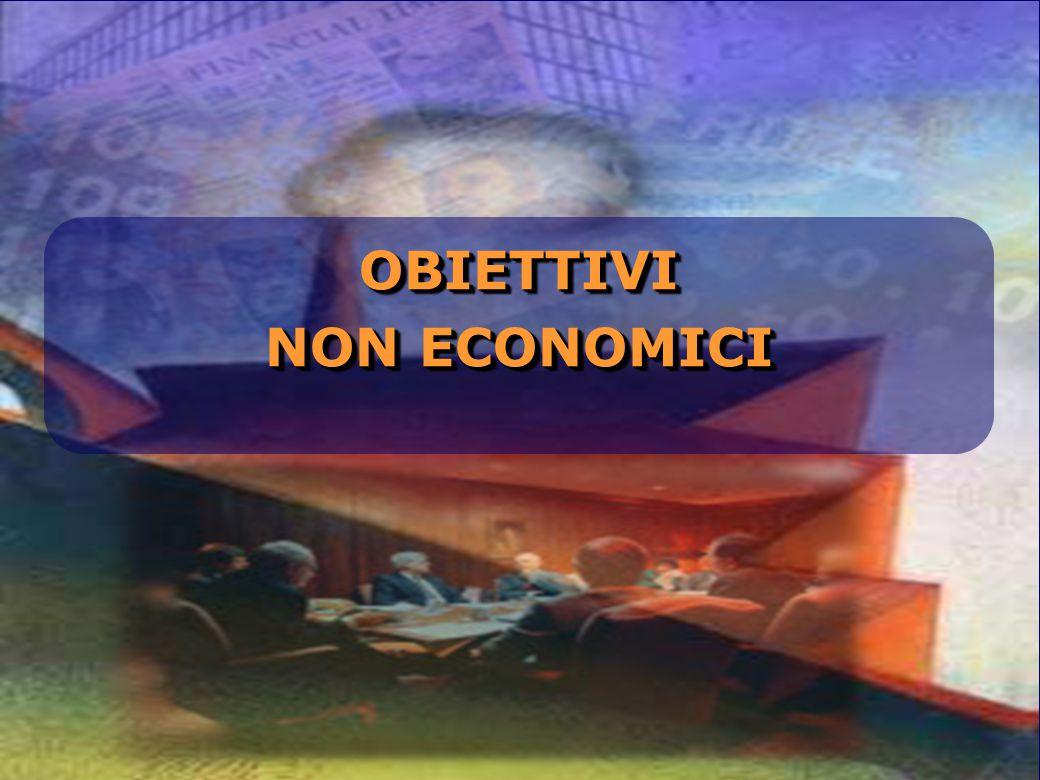 OBIETTIVI NON ECONOMICI In questo panorama complesso, spesso i grandi gruppi dichiarano di avere anche obiettivi non economici.