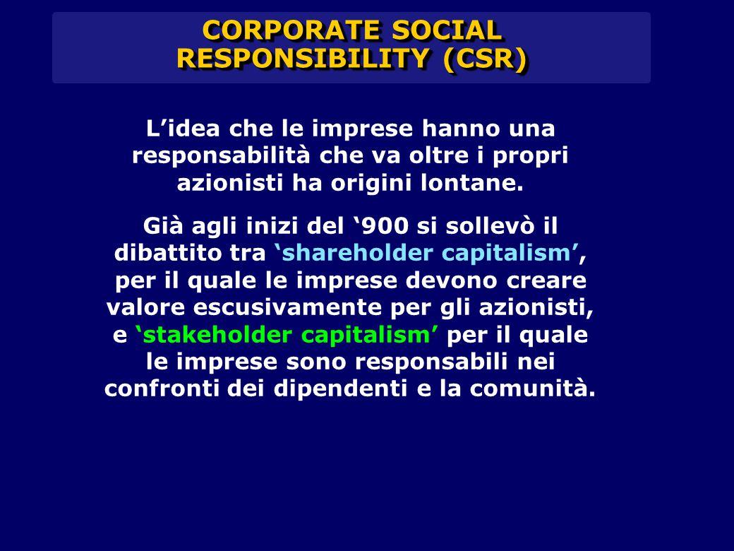 CORPORATE SOCIAL RESPONSIBILITY (CSR) L'idea che le imprese hanno una responsabilità che va oltre i propri azionisti ha origini lontane. Già agli iniz