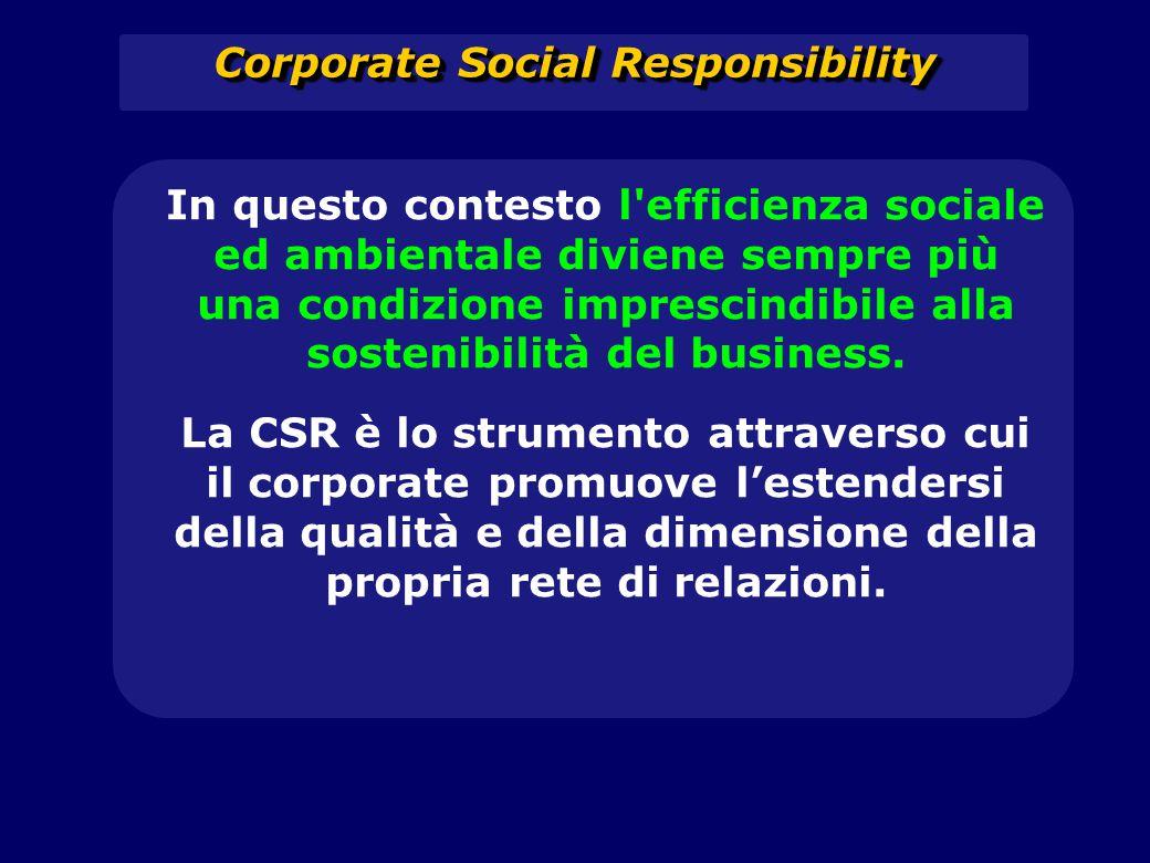 Corporate Social Responsibility In questo contesto l'efficienza sociale ed ambientale diviene sempre più una condizione imprescindibile alla sostenibi
