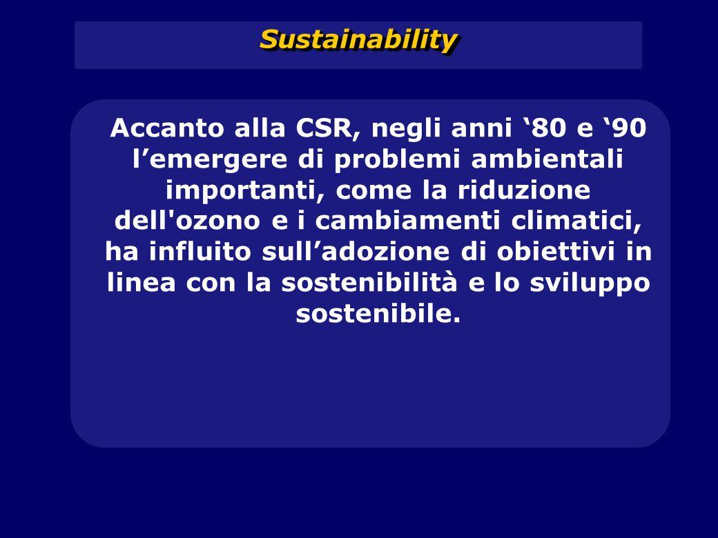 SustainabilitySustainability Accanto alla CSR, negli anni '80 e '90 l'emergere di problemi ambientali importanti, come la riduzione dell'ozono e i cam