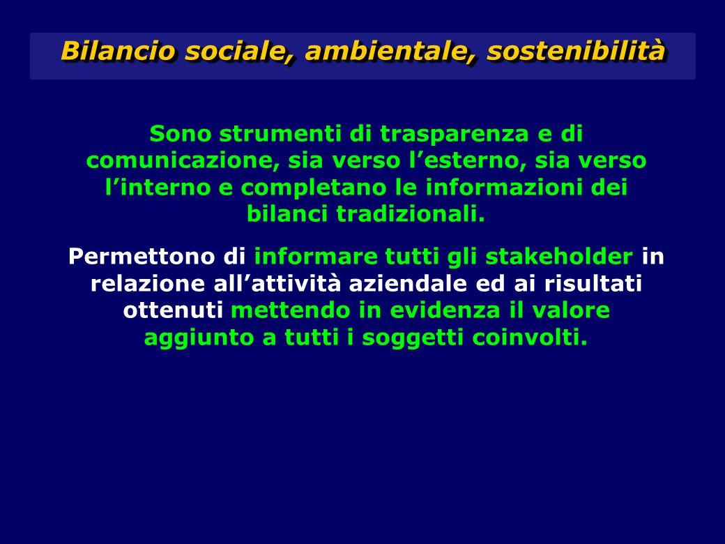Sono strumenti di trasparenza e di comunicazione, sia verso l'esterno, sia verso l'interno e completano le informazioni dei bilanci tradizionali. Perm
