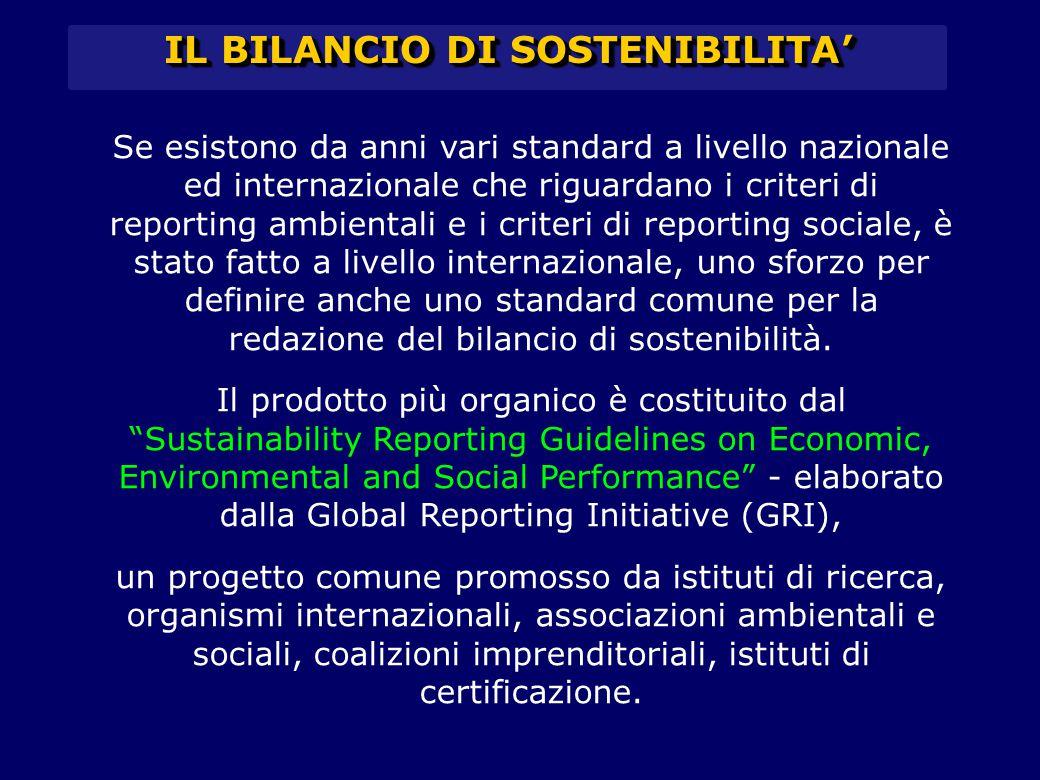 IL BILANCIO DI SOSTENIBILITA' Se esistono da anni vari standard a livello nazionale ed internazionale che riguardano i criteri di reporting ambientali