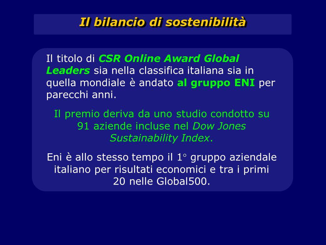 Il bilancio di sostenibilità Il titolo di CSR Online Award Global Leaders sia nella classifica italiana sia in quella mondiale è andato al gruppo ENI
